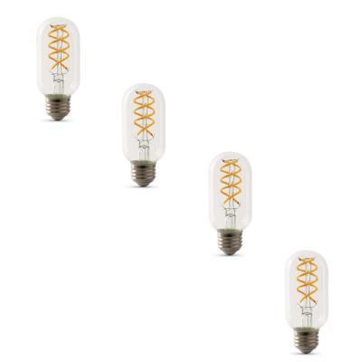 25W Equivalent T14 Dimmable LED Clear Glass Vintage Edison Light Bulb With Spiral Filament Warm White (4-Pack)
