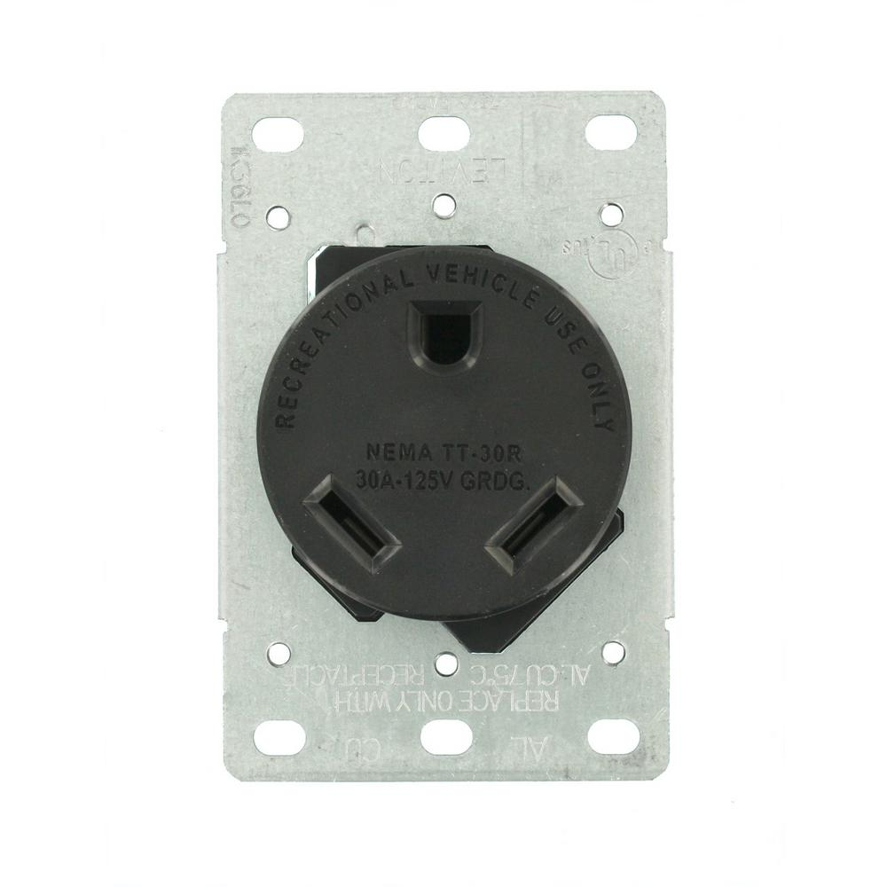 Leviton 30 Amp Flush Mount Shallow Single Outlet, Black-R10-07313 ...