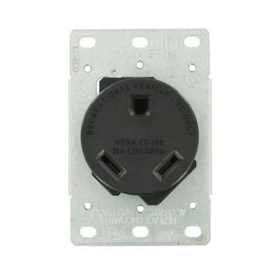30 Amp Flush Mount Shallow Single Outlet, Black