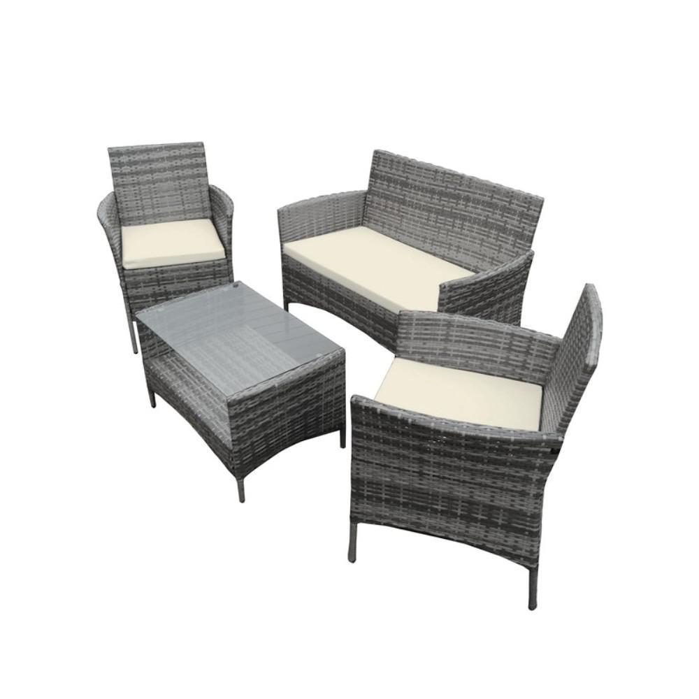 4 Piece Rattan Furniture Set In Gray