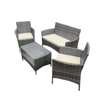 4-Piece Rattan Furniture Set in Gray