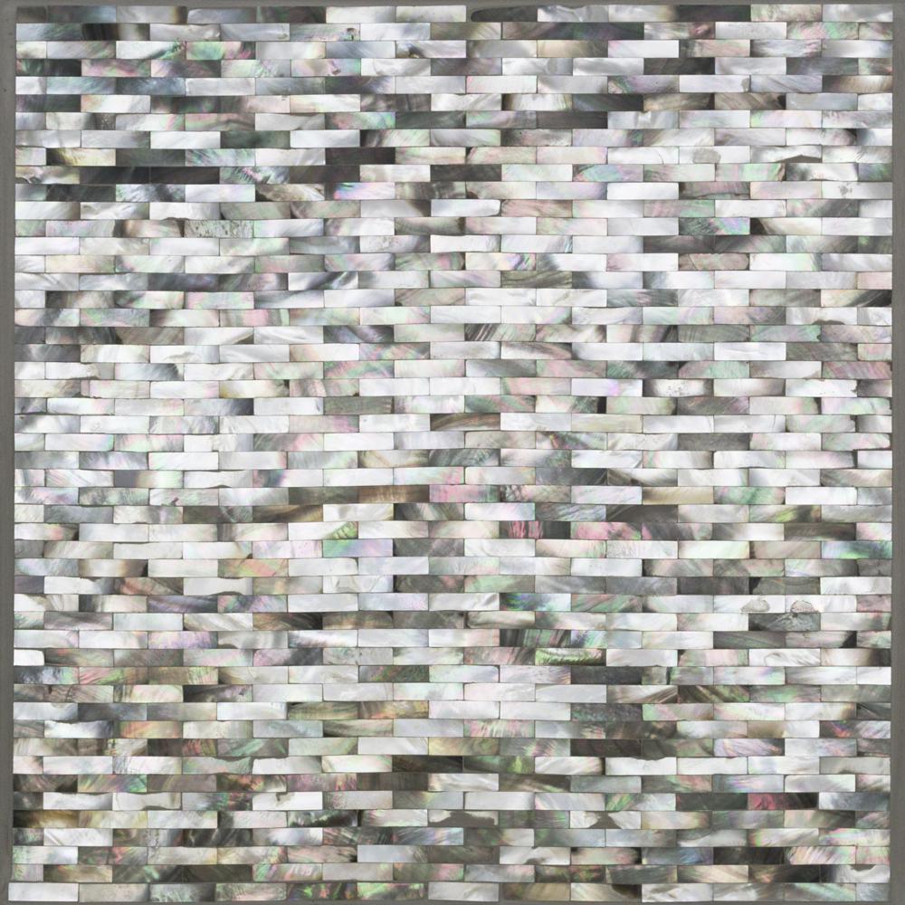 Lokahi Coule Black Mini Brick Pearl Shell Mosaic Tile - 3in. x 6 in. Tile Sample