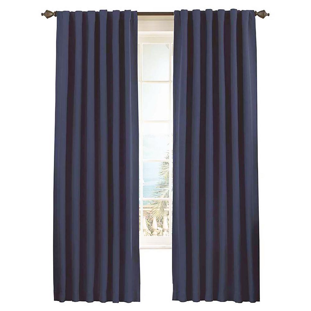 Eclipse Fresno Blackout Window Curtain Panel in Dark Blue - 52 in. W x 84 in. L