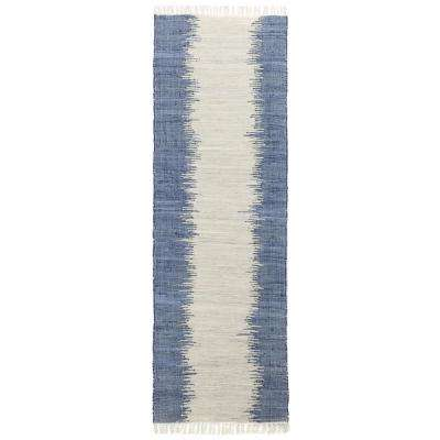 Blue Jagged Chindi 2 ft. 6 in. x 12 ft. Runner