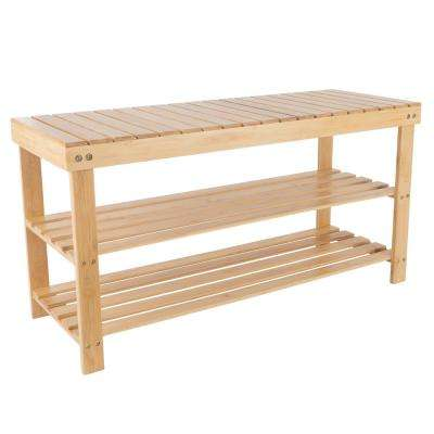 8-Pair Bamboo Bench and Shoe Organizer