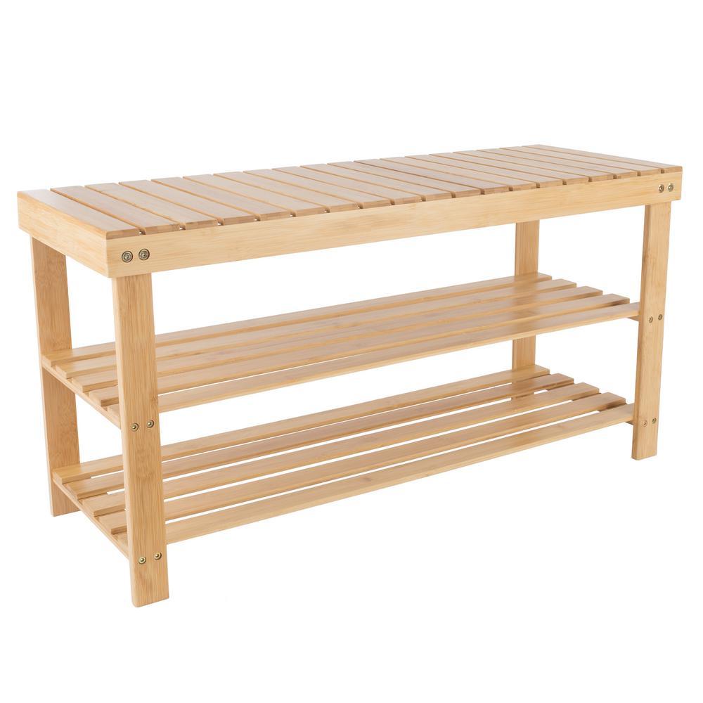 8-Pair Bamboo Bench and Shoe Organizer