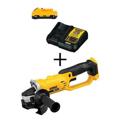 20-Volt Max Lithium-Ion Battery Pack 3.0Ah with Charger with Free Bare Cordless 4-1/2 in. Grinder