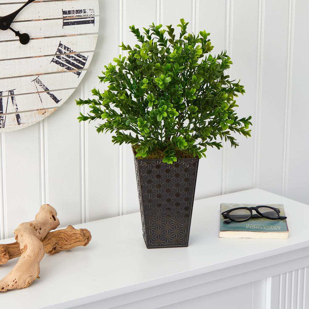 19 in. Sweet Grass Artificial Plant in Embossed Black Planter (Indoor/Outdoor)