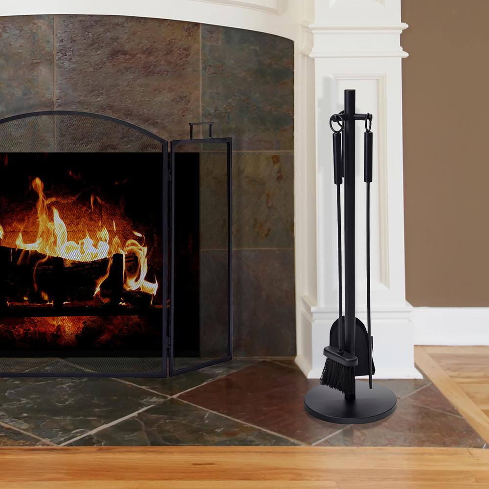 Pleasant Hearth 4 Piece Fireplace Tool Set With Compact Stand