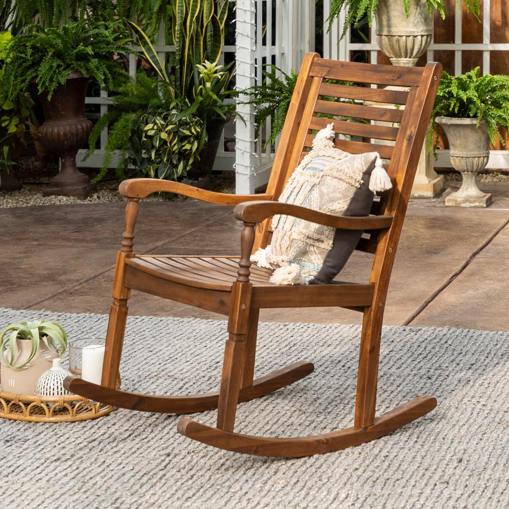 Walker Edison Furniture Company Boardwalk Dark Brown Acacia Wood Outdoor Rocking Chair