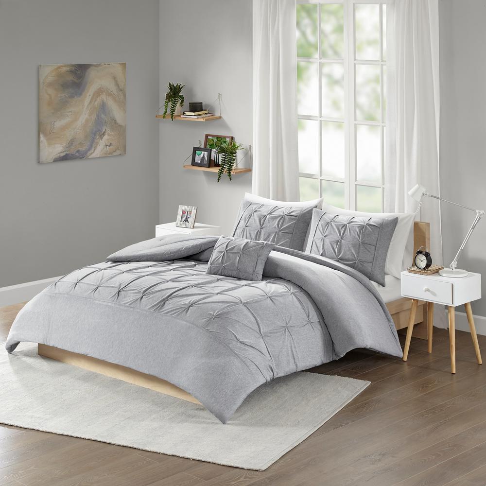 Dana 4 Piece Grey Full Queen Solid Comforter Set