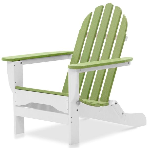 Icon White and Lime Plastic Folding Adirondack Chair