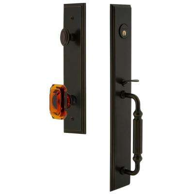 Carre 2-3/8 in. Backset Timeless Bronze 1-Piece Door Handleset with F-Grip and Baguette Amber Knob