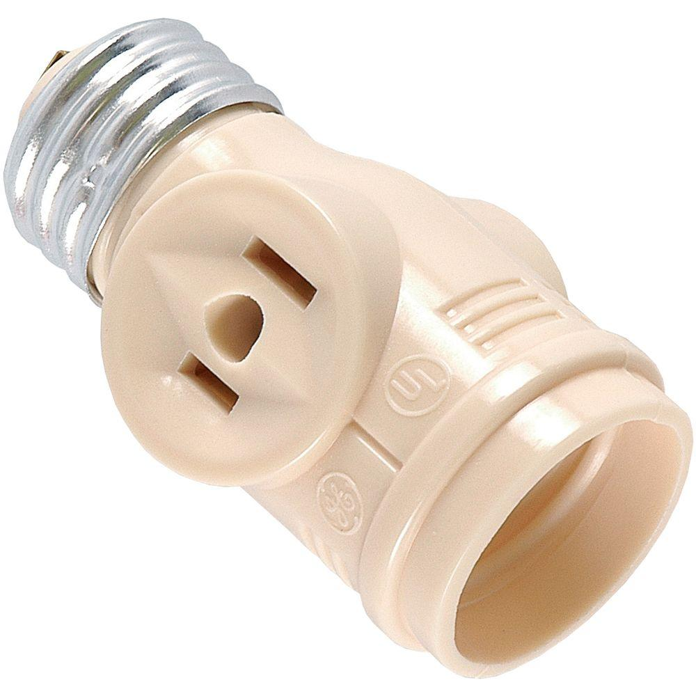 GE GE 2-Outlet Socket Adapter, Bei or Cream