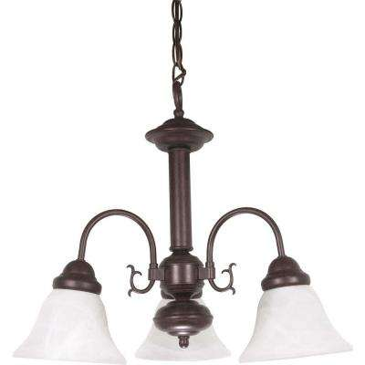 3-Light Old Bronze Incandescent Ceiling Chandelier with Glass Shade