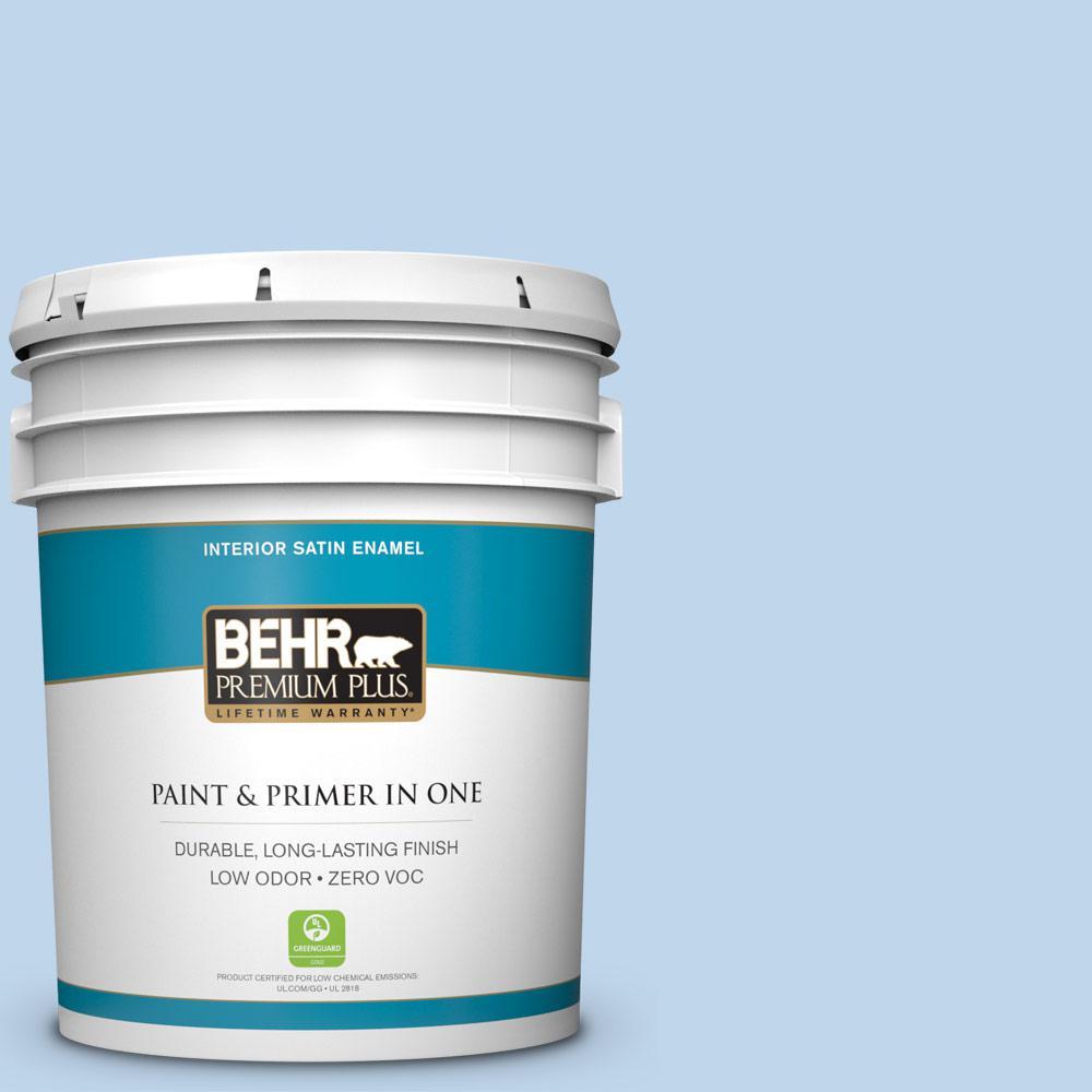 BEHR Premium Plus 5-gal. #570A-3 Pacific Panorama Zero VOC Satin Enamel Interior Paint