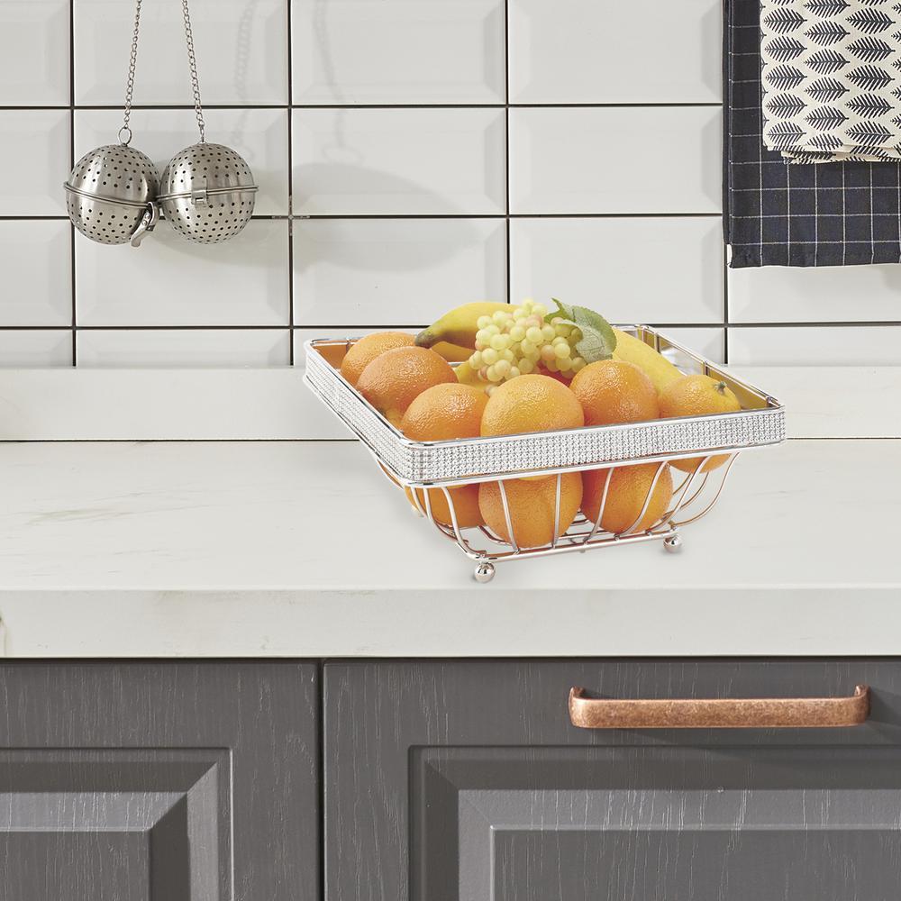Kitchen Details Chrome Fruit Basket in Pave Diamond Design ...