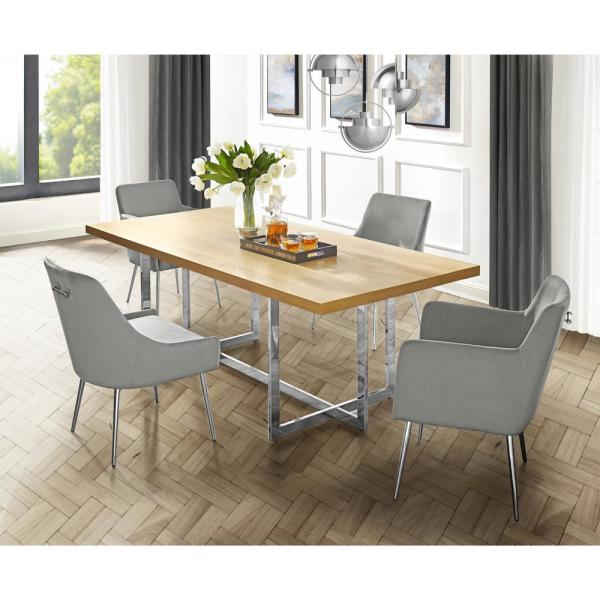 Inspired Home Davian 70.8 in. Oak Wood Veneer Dining Table with
