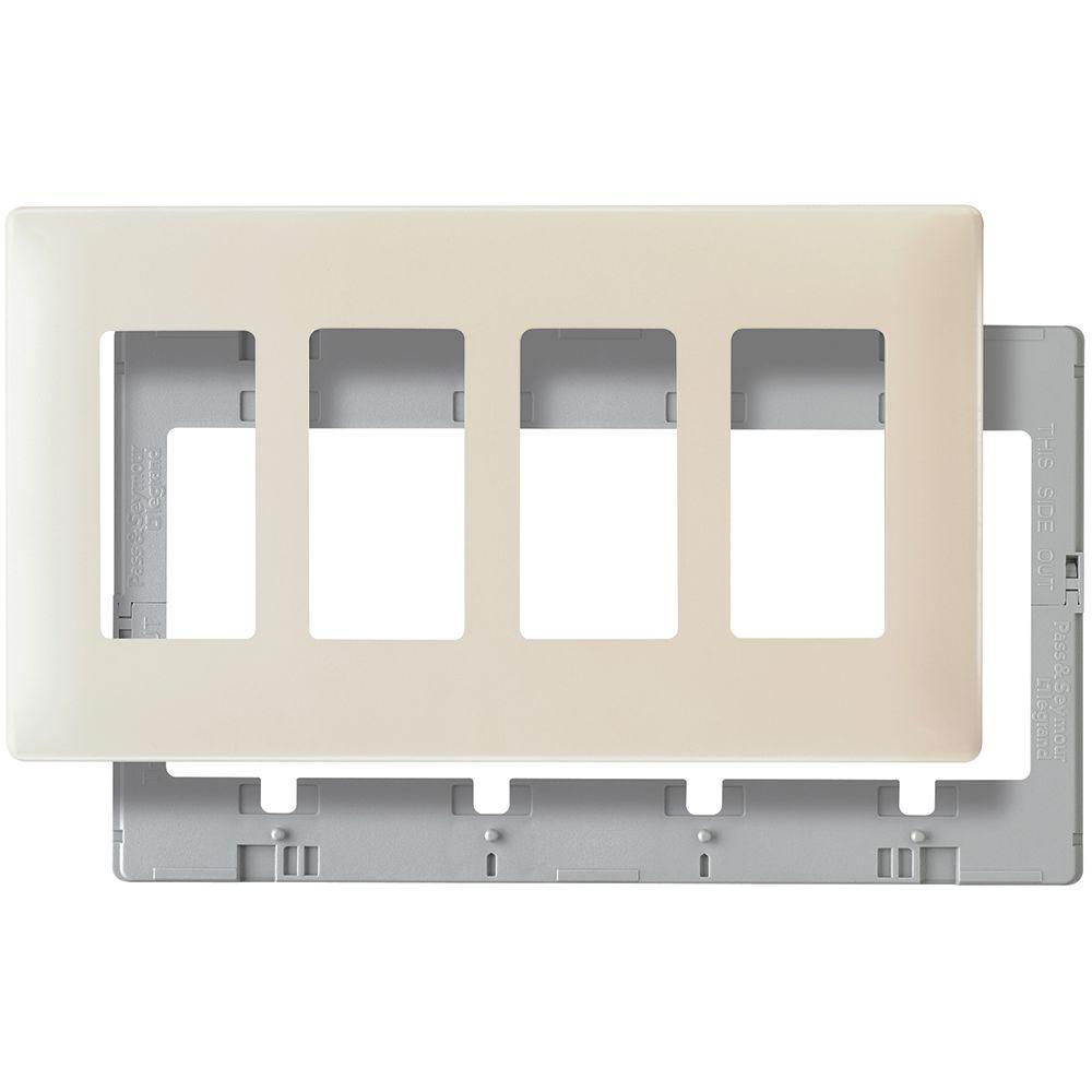 Pass & Seymour 4 Gang 4 Decorator Opening Screwless Wall Plate - Light Almond