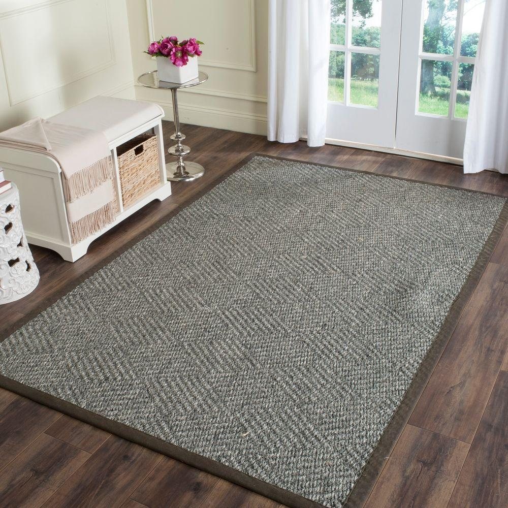 Sisal Runner White Kitchen With Carrara Marble Brass: Safavieh Natural Fiber Grey/Dark Grey 5 Ft. X 8 Ft. Area Rug-NF464A-5