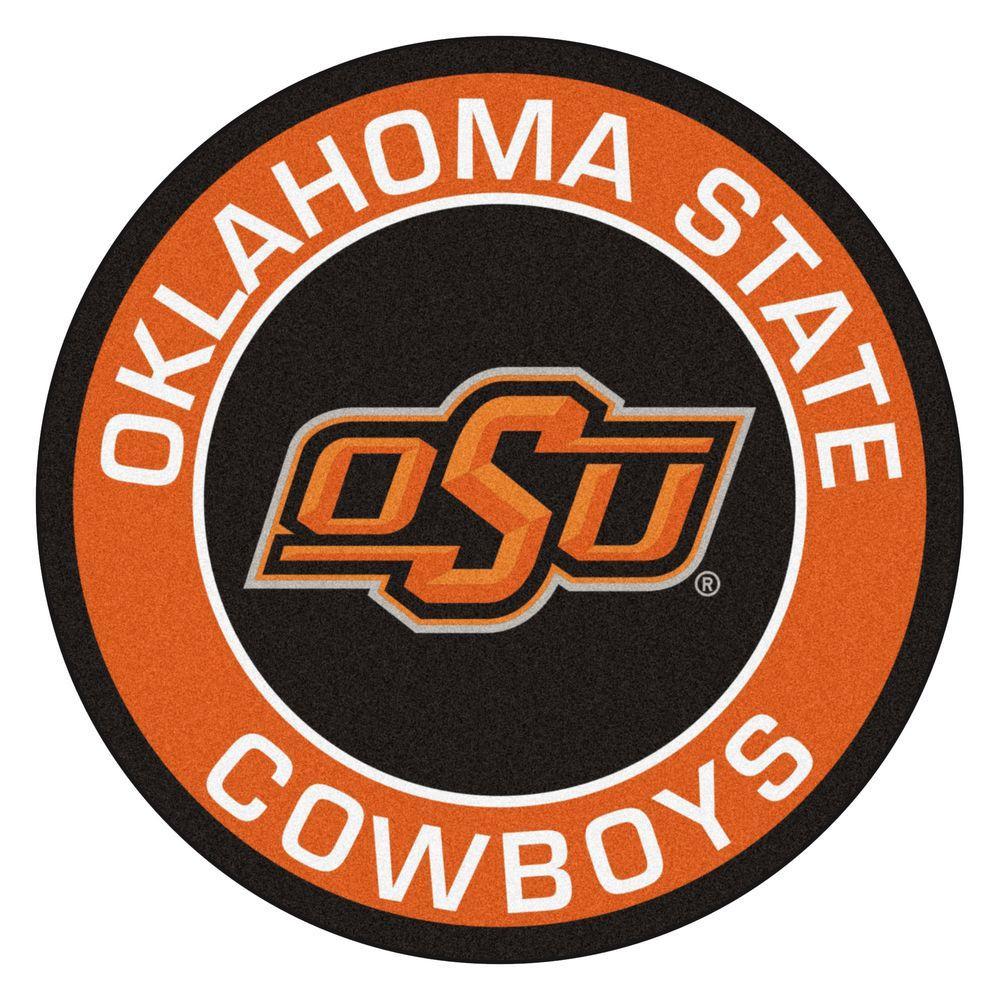 NCAA Oklahoma State University Orange 2 ft. x 2 ft. Round Area Rug