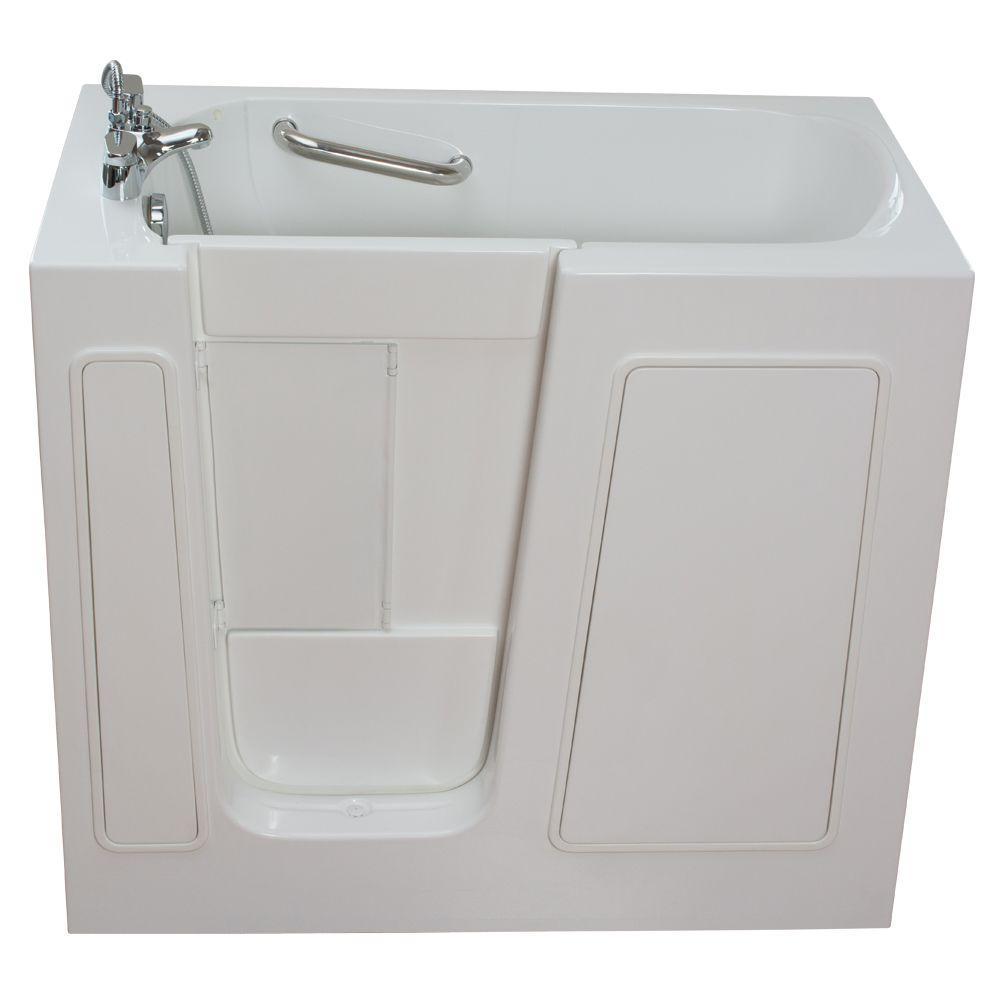 Ella Small 3.75 ft. x 26 in. Walk-In Air Massage Bathtub in White with Left Drain/Door