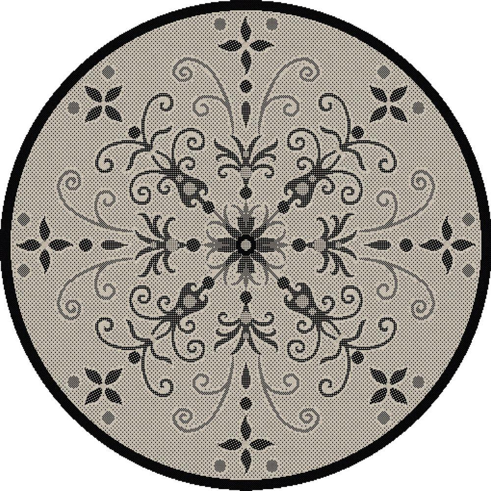 Dynamic rugs piazza sand black 5 ft x 5 ft round indoor
