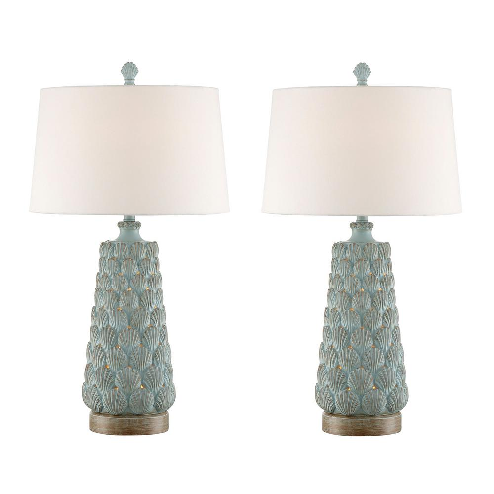 32.5 in. Glacier Blue indoor Table Lamp Set