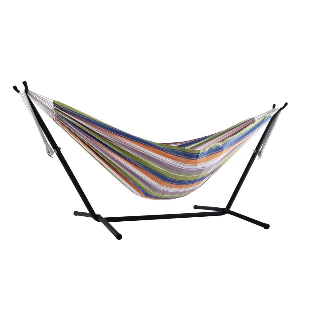 5730546a4b7 Vivere 9 ft. Cotton Double Hammock with Stand in Retro-UHSDO9-31 ...
