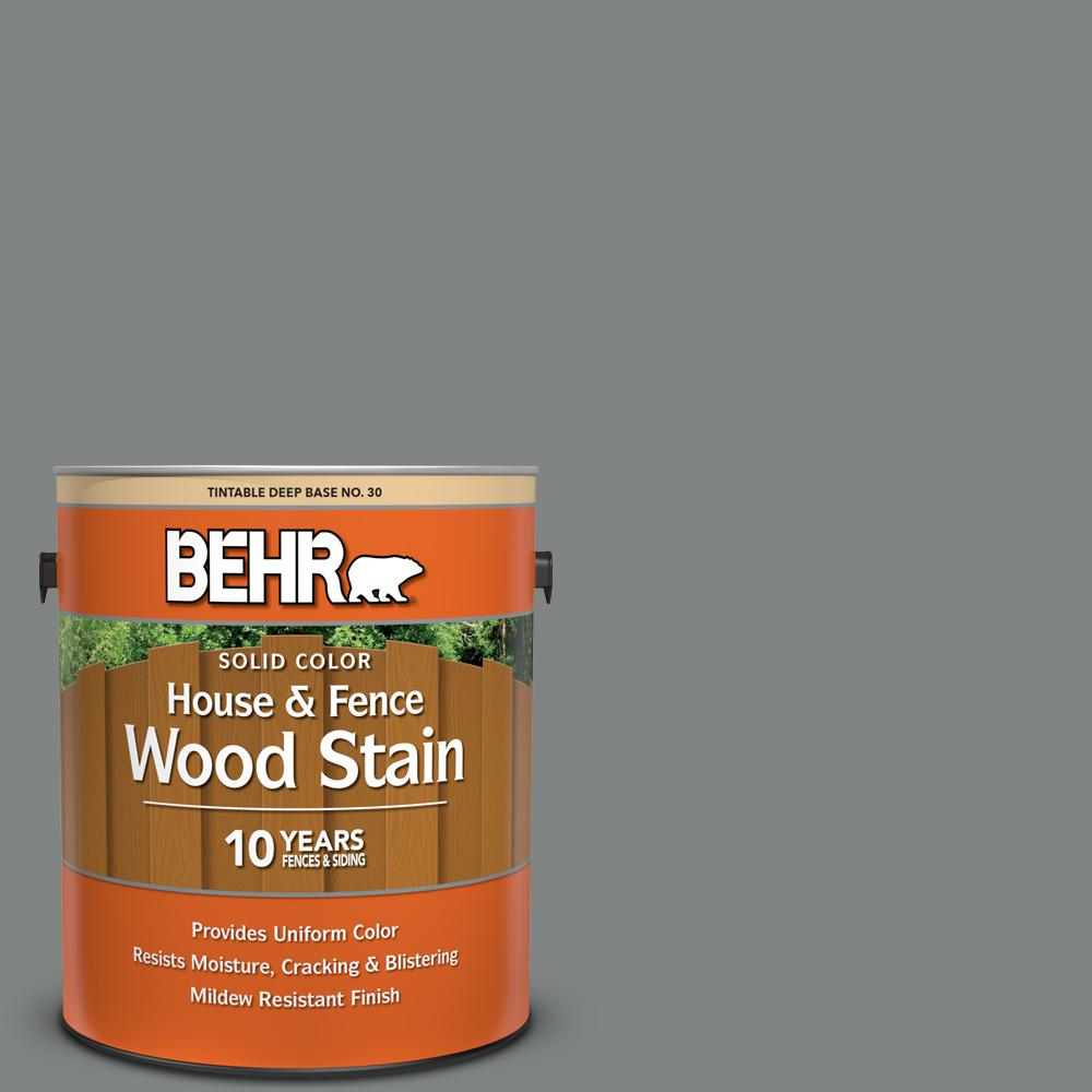 BEHR 1 gal. #6795 Slate Gray Solid Color House and Fence Exterior Wood Stain