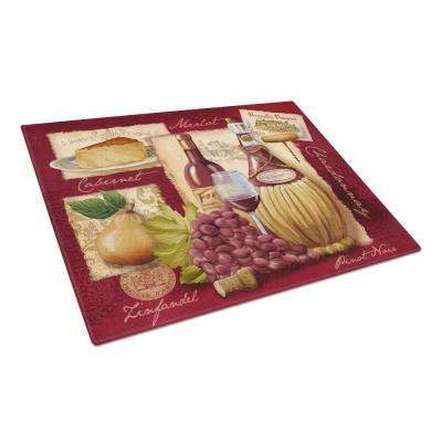 Wine and Cheese Tempered Glass Large Cutting Board