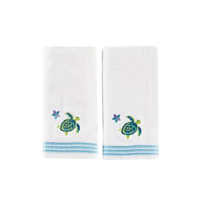 Watercolor Ocean Cotton Hand Towel Set In White (2-Piece)