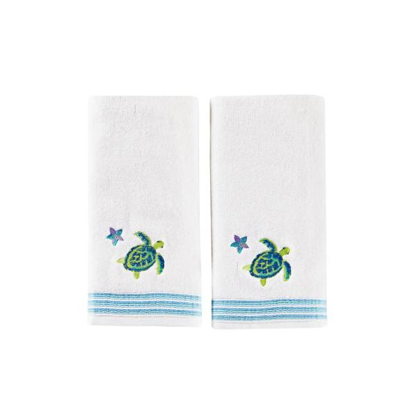 SKL Home Watercolor Ocean Cotton Hand Towel Set In White (2-Piece)