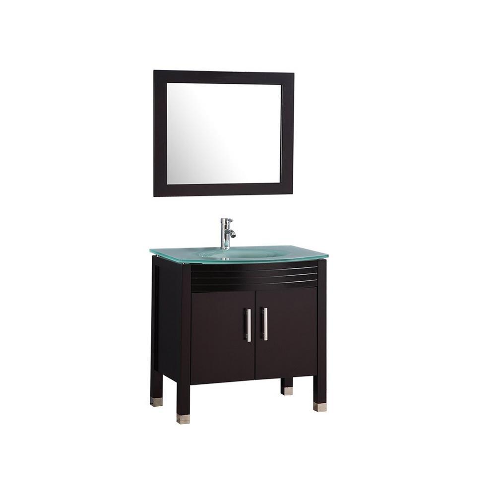 Figi 32 in. W x 20 in. D x 36 in. H Vanity in Espresso with Glass Vanity Top in Aqua with Aqua Basin and Mirror