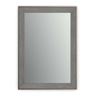 33 in. x 47 in. (L1) Rectangular Framed Mirror with Standard Glass and Easy-Cleat Flush Mount Hardware in Weathered Wood