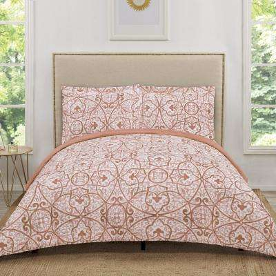 Marcello Red/Pink Coral Geometric King Quilt Set