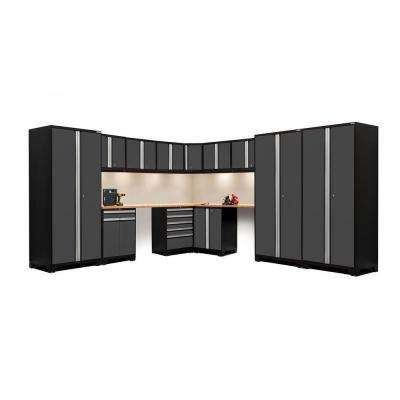 Pro Series 244 in. W x 85.25 in. H x 24 in. D 18-Gauge Welded Steel Corner Cabinet Set in Gray (15-Piece)