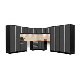 NewAge Products Pro 3 Series 85 In. H X 180 In. W X 116 In. D 18 Gauge  Welded Steel Corner Cabinet Set In Gray (15 Piece) 52155   The Home Depot