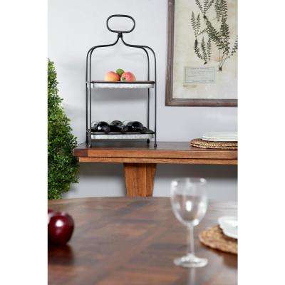 Large Black and Silver 2-Tier Rectangular Metal 2-Tiered Tray with Handle