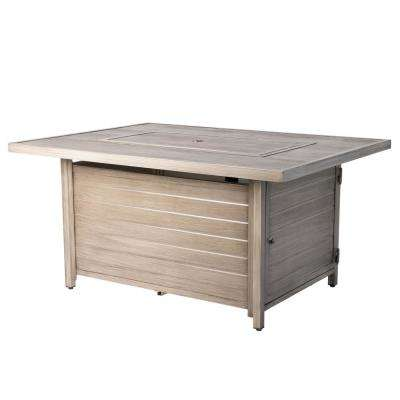 Sawyer 48 in. x 24 in. Rectangle Aluminum Propane Fire Pit Table in Barnwood