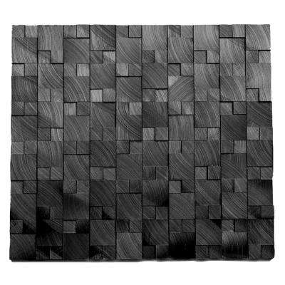 Aluminum Droid 10-3/4 in. x 11-7/8 in. x 9.5 mm Black Metal Mosaic Wall Tile (8.87 sq. ft. / case)