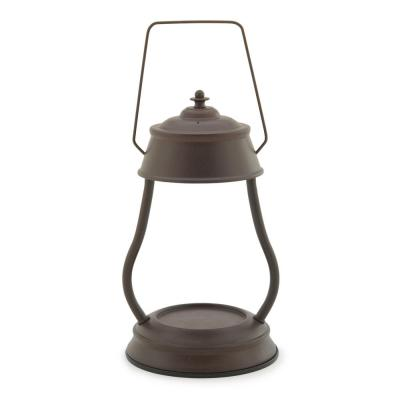 11.5 in. Rustic Brown Hurricane Candle Warmer Lantern