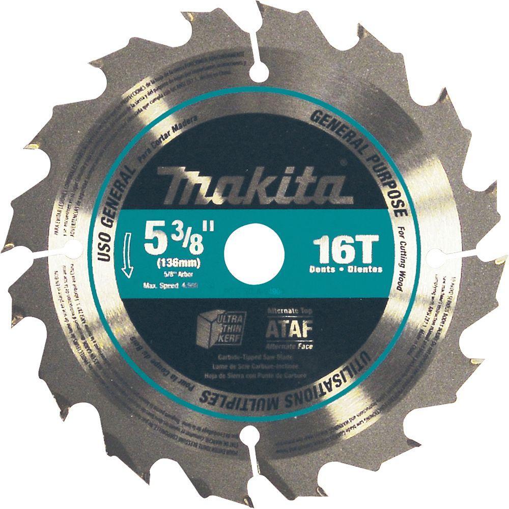 5-3/8 in. 16-Teeth General Purpose Carbide-Tipped Circular Saw Blade