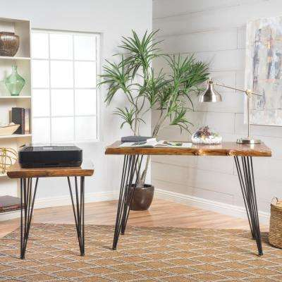 Kija Mid-Century Modern Natural Brown Faux Live Edge Fir Wood Desk and End Table Set