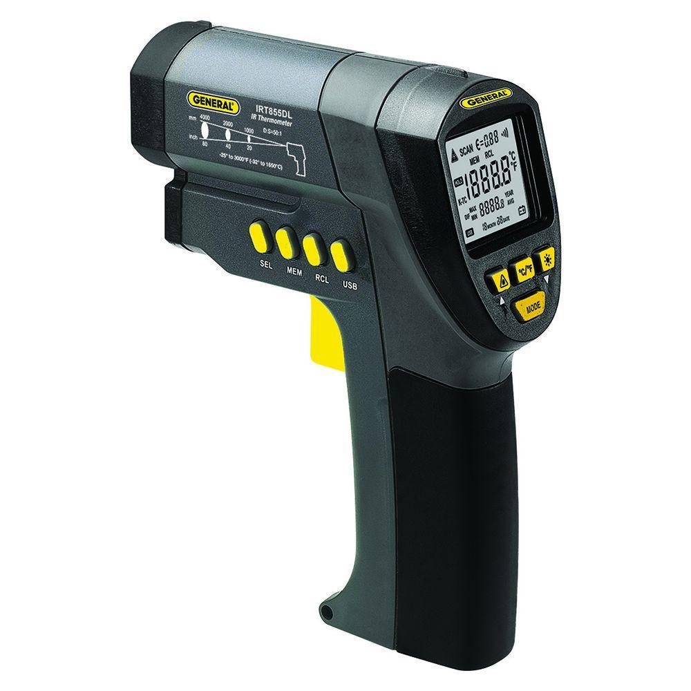 Ultra Wide Range Laser Temperature Infrared Thermometer with K Port, 50:1 Spot Ratio, Maximum Temperature 500 Degree