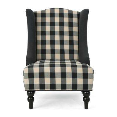 Toddman Black Checkerboard Fabric High-Back Club Chair