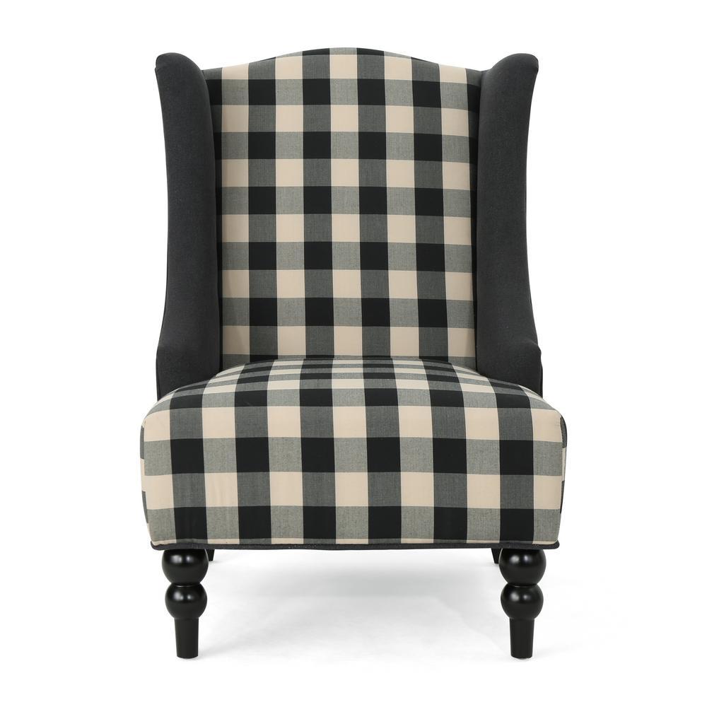 Toddman Black Checkerboard Fabric High-Back Club Chair