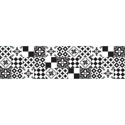 Black and White Azulejos Peel and Stick Backsplash Wall Decal