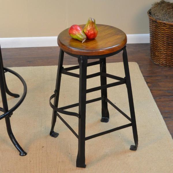 Carolina Cottage Harrison 24 in. Black and Chestnut Bar Stool