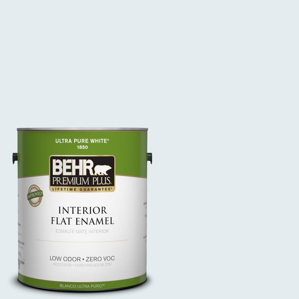 BEHR Premium Plus 1-gal. #530C-1 Club Soda Zero VOC Flat Enamel Interior Paint-DISCONTINUED